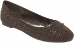 GIRLS FLAT SHOES AND RHINESTONES (BLACK)