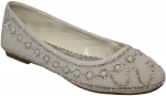 LADIES FLAT SHOES AND RHINESTONES (WHITE)