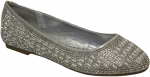 LADIES FLAT SHOES W/RHINESTONE AROUND (SILVER)