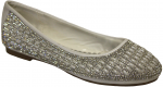 GIRLS FLAT SHOES W/ RHINESTONE AROUND(WHITE)
