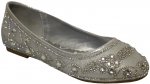 GIRLS FLAT SHOES W/ FLOWER RHINESTONE (SILVER)