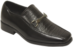 BOYS DRESSY SHOES CROCO SLIP ON W/CHAIN LINK (BLACK)