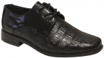 BOYS DRESSY SHOES CROCO W/LACE (BLACK/CROCO)