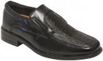 BOYS DRESSY SHOES SLIP ON CROCO IN FRONT (BLACK)