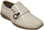 BOYS DRESSY SHOES SLIP ON W/ ORNAMENT ON SIDE (WHITE)