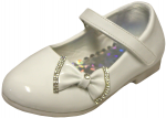 GIRLS LOW TOP DRESSY SHOE W/ BOW IN FRONT (WHITEPAT)