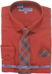 BOYS DRESSY SHIRTS (LONG SLEEVE) RED/RED